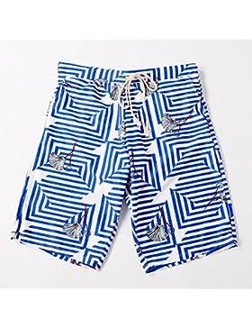 YT Pantalones de playa impresos de cinco puntos para hombres,Azul,L