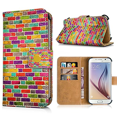 Apple iPhone 6s Handytasche mit Standfunktion, Magnetverschluss & Kreditkartenfächern. Schutzhülle Tasche Case Brieftasche Handyhülle / bunter Igel(334) bunte Mauer