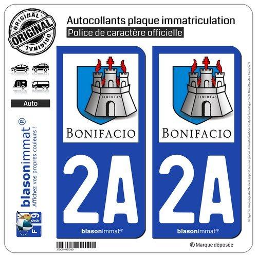 blasonimmat 2 Autocollants Plaque immatriculation Auto 2A Bonifacio - Citadelle