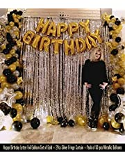 Party Propz Happy Birthday Foil Balloons Set with 2 Pcs Silver Fringe Curtain & 50 Pcs Metallic Balloons Combo