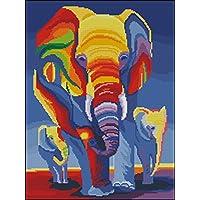 DMC hilos contados cruz puntada Kits, elefantes en arco iris 14 ct 38X47cm, 150 * 200 Aida Cruz Kit contado