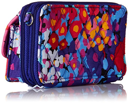 Vera Bradley All In One Crossbody 6+, Damen Umhängetasche Rosa Rose Impressionista