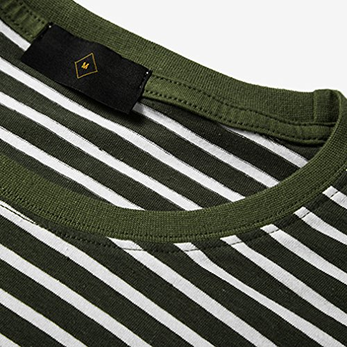 Honghu Herren Crew Neck Streifen T-Shirt Grün