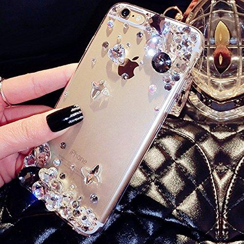 Custodia Cover iPhone 7/8 Plus Silicone Morbida,Ukayfe Trasparente Cristallo di Lusso di Bling Glitter Diamanti Strass Fiore Disegno per iPhone 7/8 Plus Clear Flexible TPU Gel Ultra Sottile Copertura  Strass Nero