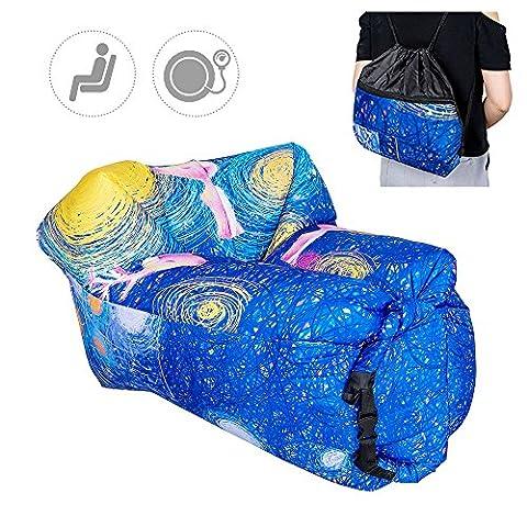 Top-Max Beach Chaise longue de bain pour canapé Canapé lit de couchage gonflable remplis d'air Camping Voyage randonnée Intérieur Chambre à coucher Backyard (étoile