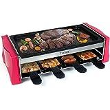 Appareil a Raclette 8 Personnes - Machine a Raclette Grill avec 8 Poêlons Antiadhésif 1 Spatule Raclette Bois Revêtement Anti