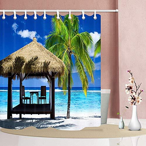 SHUHUI 3D Digitaldruck nautische Duschvorhang Tropical Ocean Beach Palms Baum mit Holz Pavillon Mehltau resistente Dekorationen 180X180 cm (Palm-baum-holz)