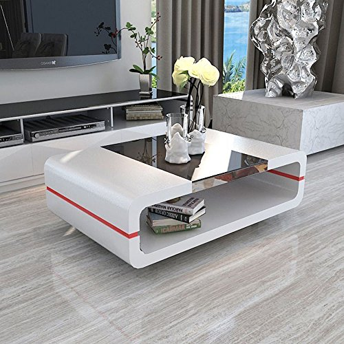 White High Gloss Side End Square 2 Seats Of Coffee Table: Search Furniture
