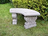 ONEFOLD - LARGE CURVED GARDEN BENCH Hand Cast Stone Garden Ornament Concrete