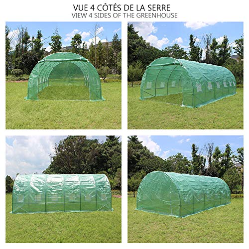 VOUNOT Grande Serre de Jardin | Serre de Jardin Tunnel 18m2 en Acier galvanisé | Serre de Jardin maraichère Verte Taille : 600CM (L) x 300CM (l) x 200CM (h)