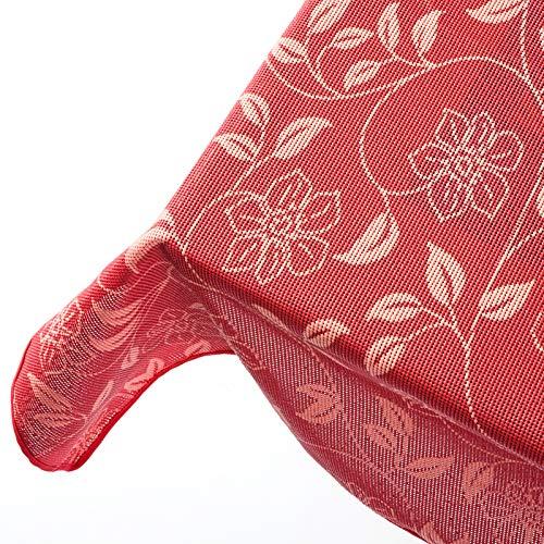 Floordirekt Garten-Tischdecke Bianca | 130x160 cm | 3 Farben | Wetterfeste Gartentischdecke | Outdoor-Tischdecke | Camping-Tischdecke (Dunkelrot)
