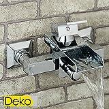 iDeko® Robinet Mitigeur cascade de douche baignoire chrome