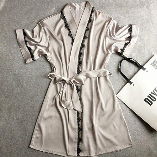 Wanglele Seide Nachthemd Damen Kurze Ärmel Satin Lace Robe And Lose Bademantel Bademantel Home, Silber Grau, L (Kurze Seiden-robe)