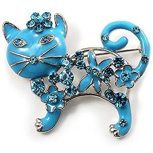 'Russisch Blau' Brosche Katze Emaille