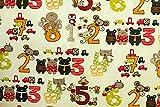 Qualitativ hochwertiger Jersey Stoff mit Tieren und Zahlen auf Ecru als Meterware zum Nähen von Baby, Kinder- und Damenkleidung, 50 cm