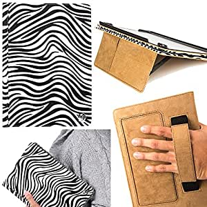 Deluxe Portfolio Leather Case BookStyle with Fold to Stand Feature and Sleep Mode for Apple iPad Air 2 with Retina Display Wi-Fi AIR2-16GB-GOLD AIR2-64GB-GOLD (BlackWhite Zebra)