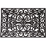 Esschert Design–Felpudo contra la suciedad, Felpudo en negro de goma, rectangular, varios tamaños, Plástico, metálico, 40 x 60 cm