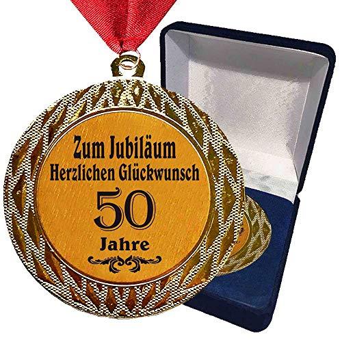 Larius Group Medaille Orden zum Jubiläum 50 Jahre Auszeichnung Ehrenorden zum Geburtstag Geschenk Jubilar Persönlichen Orden Wunschtext (mit Schachtel)