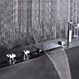 HomeLava Moderne Wannenrandarmatur Chrom 5-Loch-Wasserfall-Wannenarmatur 3-Griffanzahl Elegantes Design