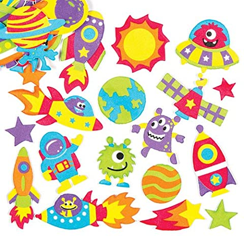 Autocollants créatifs et éducatifs du système solaire en mousse, que les enfants pourront utiliser pour décorer et embellir les objets de loisirs créatifs sur le thème de l'espace (Lot de 120).