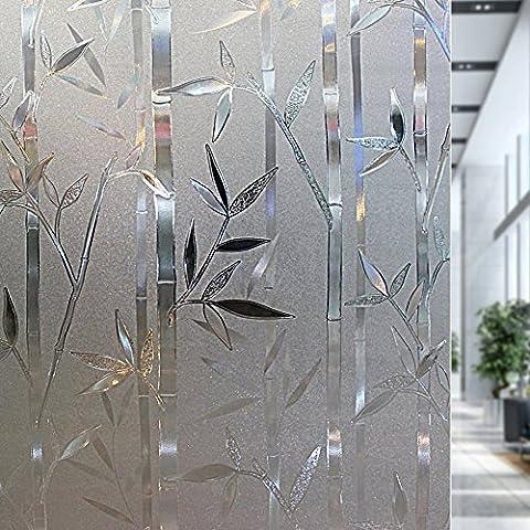 Rabbitgoo® Sin cola 3D vinilo pegatina translúcida adhesiva decorativa del vidrio de ventana autoadhesiva con Electricida Estática para el cristal de ventanal de baño cocina oficina Control de Calor y Anti UV