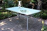 VILLANA stilvoller Glastisch aus hochwertigem Aluminium in silber, Tischplatte aus starkem Glas, ca. 180 x 96 x 71 cm, großer Gartentisch, Kaffeetisch, Esstisch, wetterfest, zeitlos, Schirmloch