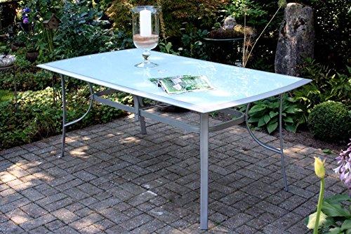 VILLANA stilvoller Glastisch aus hochwertigem Aluminium in silber, Tischplatte aus starkem Glas, ca....