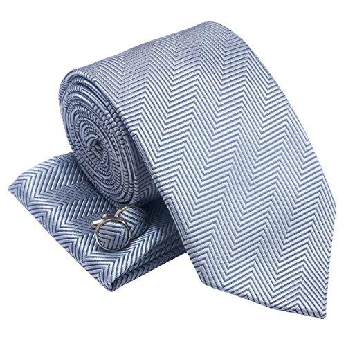 Da uomo a spina di pesce Stripe Woven cravatta w/tasca quadrato e gemelli set regalo Grey Taglia unica