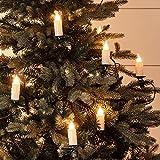 Lights4fun, Inc. 30 warmweiße LED Jumbo flammenlose Weihnachtskerze für den Innenbereich mit Baumklemmen