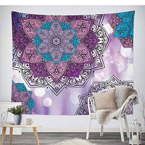 xiaomingshangdian Mandala Tapisserie Gobelin hängende Wand Floral Tapisserie Stoff Hippie Boho Tagesdecke Tischdecken [Senden Zubehör] -