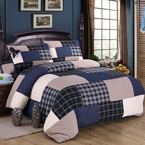 mixinni® Bettüberwurf Baumwolle 100% Muster Reversible Gedruckt Karo Patchwork Quilt überdecken für Sommer / Winter Tagesdecke (Enthält keine Kissenbezüge) marineblau 245x269 cm (Blue Garden Tagesdecke)