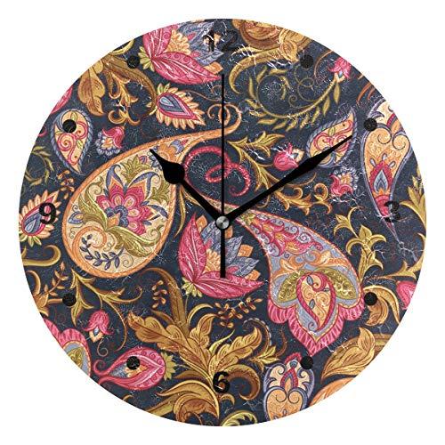 SUNOP Uhr für Kinder, Öldruck, indisches Paisley-Muster, nahtloses Muster, Wanduhren für Wohnzimmer, Schlafzimmer und Küche, Vintage Schreibtisch & Regal Uhren Paisley Vintage Mantel