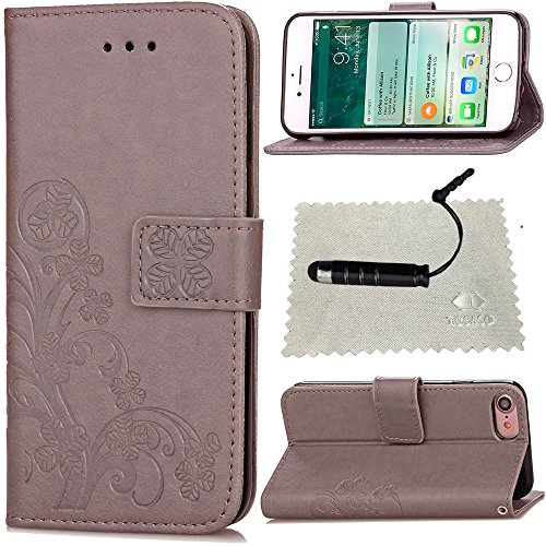 TOCASO Schutzhülle für iPhone 7 Leder Klee Impressum, Glatt Thin Handyhülle Flip Wallet Case Hülle für iPhone 7 Folio Cases Lederhülle Credit Card Holder Pouch für iPhone 7 Grau - Case Pouch Wallet Handy