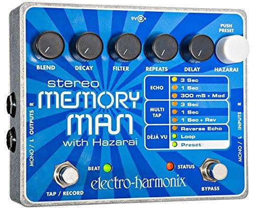 electro-harmonix Stereo Memory Man with Hazarai Stereo Memory Man / Hazarai Pedal - Pedal de efecto eco/delay/reverb para guitarra, color plateado
