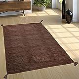 Paco Home Designer Teppich Webteppich Kelim Handgewebt 100% Baumwolle Modern Meliert Braun, Grösse:200x290 cm