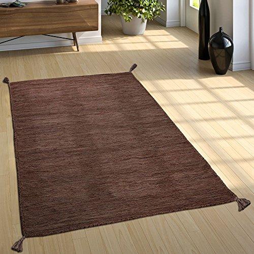 Paco Home Designer Teppich Webteppich Kelim Handgewebt 100{8f9eea2db2bef9c9cd56942606a62351b0b972de2270b5e55d10aebfcb340e99} Baumwolle Modern Meliert Braun, Grösse:200x290 cm
