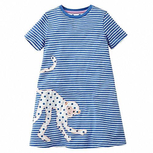 AILEESE Toddler Kids Baby Girls Sundress Lovely Jumper Skirt Blue Striped Flower Party Gown Casual Beach Dresses 2T-7T
