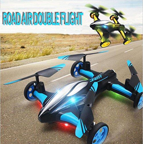 WZG Drone con Cámara FPV Air-Ground RC Quadcopter por Tierra & Aire Doble Modo Drone Coche Teledirigido De Control Remoto 2,4 GHz 6-Axis Gyro Juguetes para niños, Yellow
