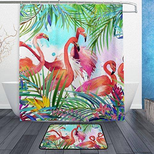JSTEL Tropical Leaf Flamingo 3-teiliges Badezimmer Set, maschinenwaschbar für den täglichen Gebrauch, inkl. 152,4x 182,9cm Wasserdicht Duschvorhang, 12Dusche Haken und 1Anti-Teppich Carpet-Set (Rotbraun Und Schwarz Teppiche)