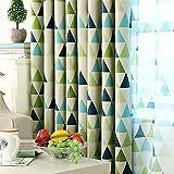 LianLe Vorhang Gardine Geometrie Dreieck Muster Blickdicht Schlaufenschal 100x250 cm Wohnzimmer Schlafzimmer Deko (B: 1 Stk transparent Voile, Grün)