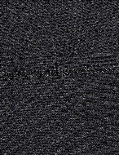 PU&PU Robe Aux femmes Moulante Vintage / Soirée / Décontracté , Imprimé Mao Au dessus du genou Mélanges de Coton black-m