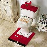 Home Garden Best Deals - De Papá Noel de Navidad Happy Cubierta para tapa de inodoro y alfombra de utensilios de baño