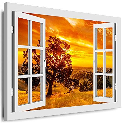 Leinwand Bilder / Kunstdrucke Boikal / Leinwandbild, Bild Fenster Aussicht Baum im Sonnenuntergang Keilrahmenbild 40x30 cm / Weiss / 24XXL01 / Wandbild