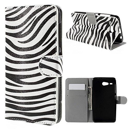 Nero Bianco Zebra animale Stampa Portafoglio Custodia Protettiva in PU Pelle per Acer Liquid Z520 - Design Colorato custodia con supporto