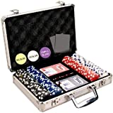 Da Vinci 200 Dice Striped 11.5 gram Poker Chip Set with Aluminum Case Dealer Button 2 Decks of Cards and 5 Dice