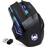 Zelotes 2,4 GHz Souris sans Fil Professionnel, 7 Boutons 2400 dpi LED Bleue Optique Gaming Mouse Souris Gamer pour Ordinateur Portable, PC, Mac, Ordinateur Portable (Noir)