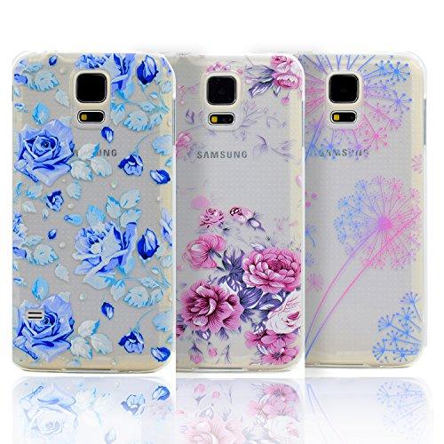 TPU Silikon schutzhülle Sunroyal Handyhülle durchsichtig für Samsung Galaxy S5 MINI (SM-G800) Ultra Dünn schutzhülle Soft Flex Hülle silikon stoßdämpfende kristallklar hülle Leichte schutzhülle Anti-s Pattern 01