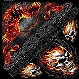 Bandana Stoff Kopftuch Biker Skull Flame Adler Totenkopf Flamme