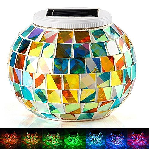 Solar Mosaic Glass Ball Garden Lights,KINGCOO Waterproof Color Changing Mood Night Lights Solar Outdoor Table Lamp for Bedroom Party Garden Patio Yard Decoration Lighting (Multicolor)