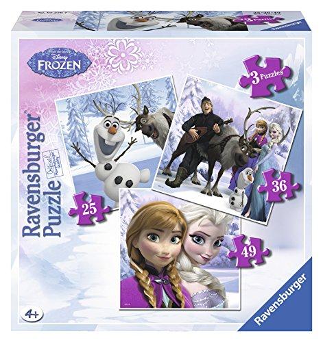 Ravensburger 25 Puzzle (Ravensburger 07276 - Disney Prinzessinnen: Anna, Elsa & ihre Freunde - 25 + 36 + 49 Teile Kinderpuzzle)